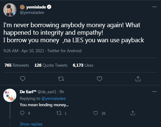Yemi Alade Vows Never To Lend Anyone Money Again - Full Update Asyy